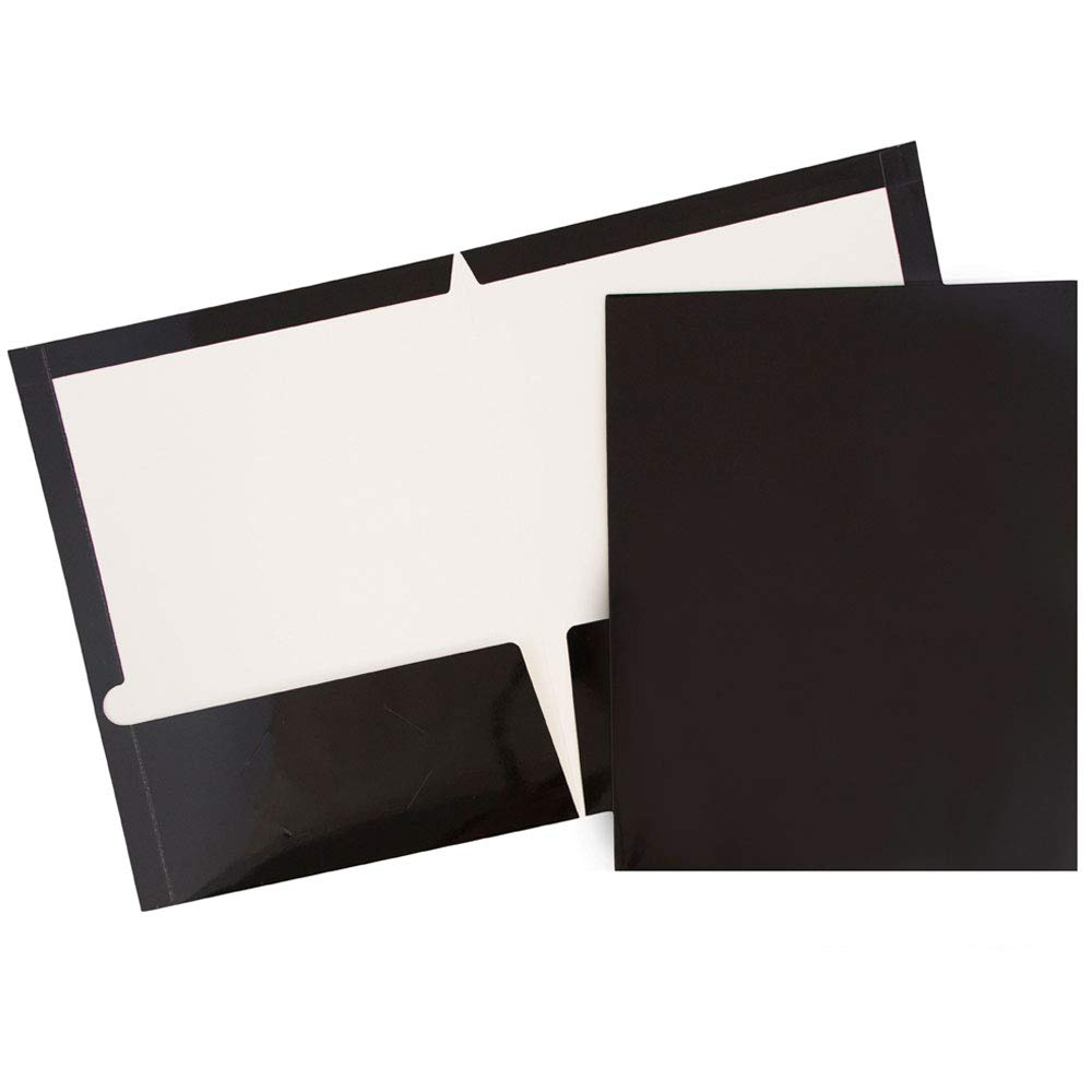 JAM PAPER Laminated Two Pocket Glossy Folders - Black - Bulk 25/Pack by JAM Paper