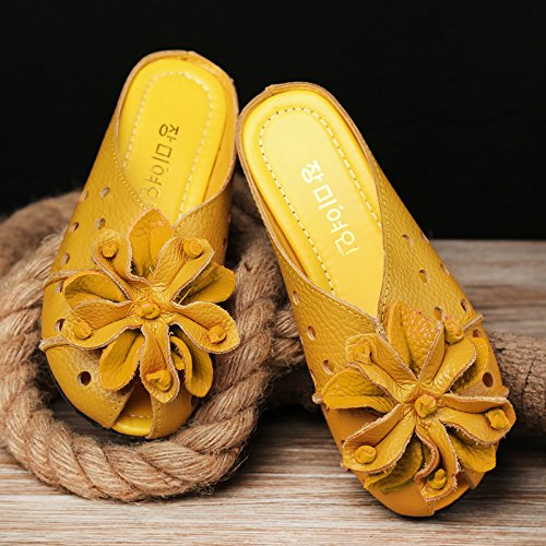 para plano Un Baotou amarillo Chanclas Casual SCLOTHS Flores cómodo blando mujer Polipiel Fondo qxg655wH0