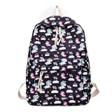 School Backpack for Girls Nylon Style Unicorn Shoulder Bag Teenage Students Laptop Travel College (black)