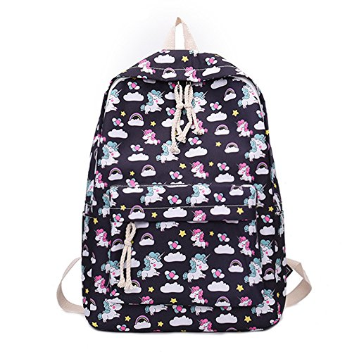 School Backpack for Girls Nylon Style Unicorn Shoulder Bag Teenage Students Laptop Travel College (black) by SymbolLife