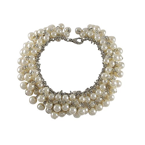 GRACE HARPER Silver-tone Simulated White Pearl Clusters Teens Womens Bracelet, (Grace White Pearl)