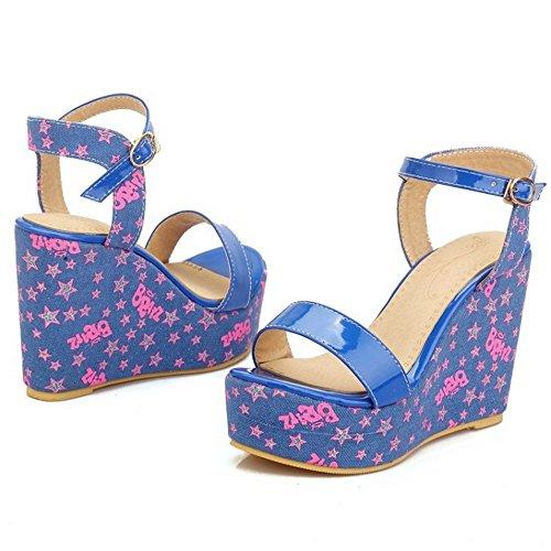 De Haute Chaussures Longfengma Femmes Sandales Doux Talon forme Plate Boucle Bleu Floral Compensé wIAxTqIr