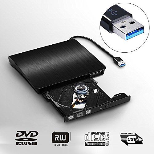 External DVD CD Drive, JIRVY USB 3.0 Ultra Slim Portable External Slot CD DVD Storage Drive External DVD Writer Burner Player RW/ROM Drive for Apple MacBook Pro Air iMac or Laptops/Desktops (Black)