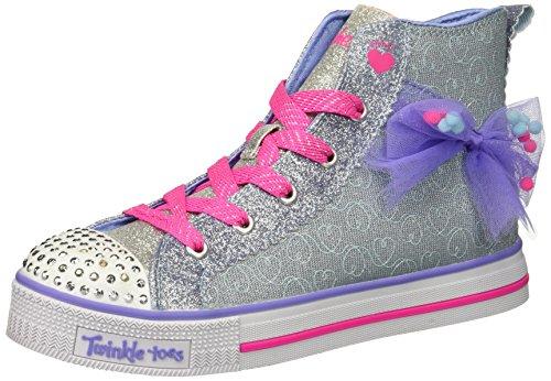 Skechers Kids Girls' Twinkle LITEB-Busy Bows Sneaker, Light Blue/Lavender, 4 Medium US Big Kid