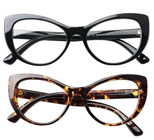 SOOLALA Womens Large Frame CatEye Prescription Glass Frame Reading Glasses, BkLeo, ()