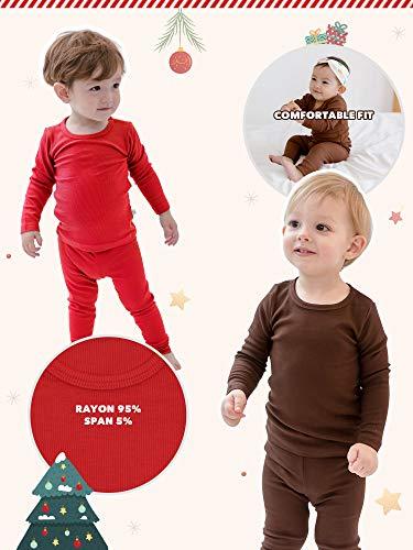 AVAUMA Baby Boys Girls Pajama Set Kids Toddler Snug fit Ribbed Rayon Sleepwear pjs for Daily Life Style