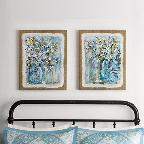 Madison Park Burlap Blossoms Gel Coat Canvas 2pcs Set Blue 22x28x152