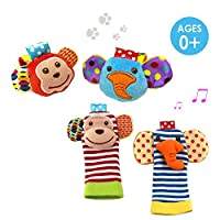 SKK Baby 4 Animal Wrist Rattle and Foot Finder Socks Set Development Toys Gif...