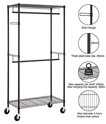 Finnhomy Heavy Duty Rolling Garment Rack