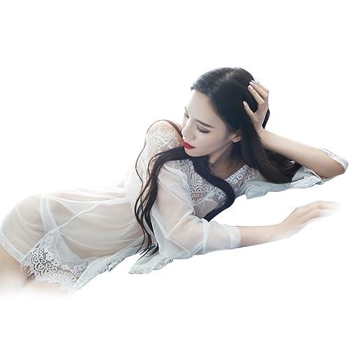 Tinksky Mujeres exóticas dormir lencería ropa de dormir de encaje perspectiva vestido ropa interior, regalo día de la madre o el regalo para el amante de las mujeres (blanco)