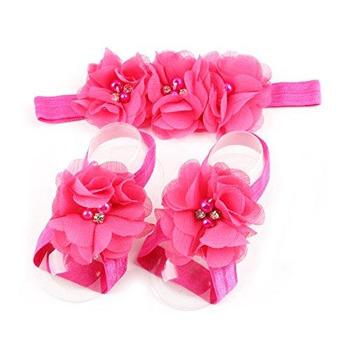 LD DRESS Baby Girl Foot Flower + Headband (Rose)