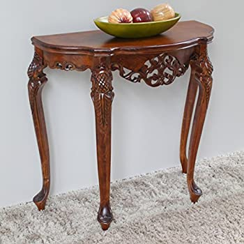 International Caravan 3841 IC Furniture Piece Half Moon Wood Console Table,  0