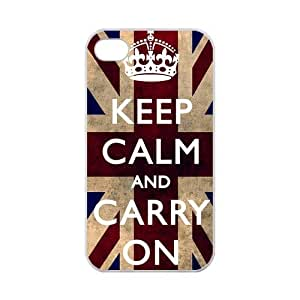 Keep Calm And Carry On UK United Kingdom Union Jack Flag Apple Iphone 4S/4 Case Cover 100% TPU Laser Technology Britain British Quotes