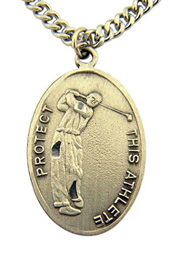 Athlete Golf - WJH Silver Toned Base Patron of Sports Saint Sebastian Golf Athlete Medal, 1 Inch