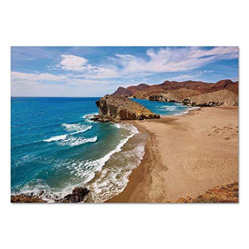VAMIX Sticker [ Landscape,Ocean View Tranquil Beach Cabo De Gata Spain Coastal Photo Scenic Summer Scenery,Blue Brown ] Self-Adhesive Vinyl Wallpaper/Removable Modern Decorating Wall Art ()