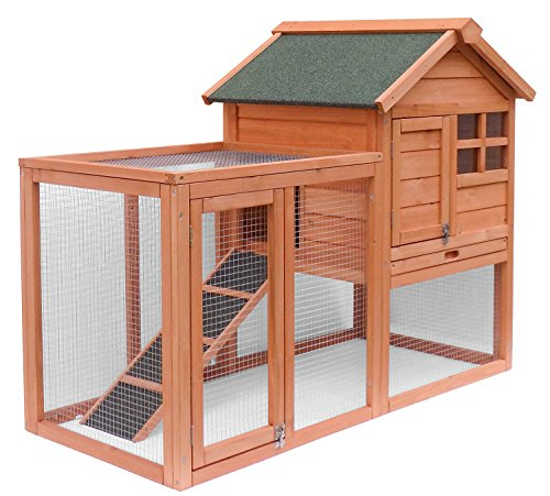 Merax Wooden Pet House Rabbit Bunny Wood Hutch House Chicken Coops Chicken Cages Rabbit Cage (Rabbit (Chicken House)