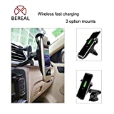 Bereal Wireless Car Charger,Phone Holder in Car ,Phone Wireless Charger Phone Mount for Samsung Galaxy S9 S9 Plus S8 S7/S7 Edge Note 8 5 & Standard Charge for iPhone X 8/8 Plus & Qi Enabled Devices