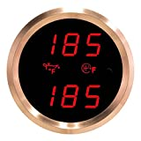 VEI Systems Dual-Display gauge: 320 deg-F oil temperature and 320 deg-F transmission temperature (red/silver)