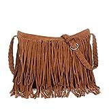 Vbiger Tassels Shoulder Bag Fringed PU Leather Handbag Simple Cross Body Bags for Women Braided Shoulder Strap