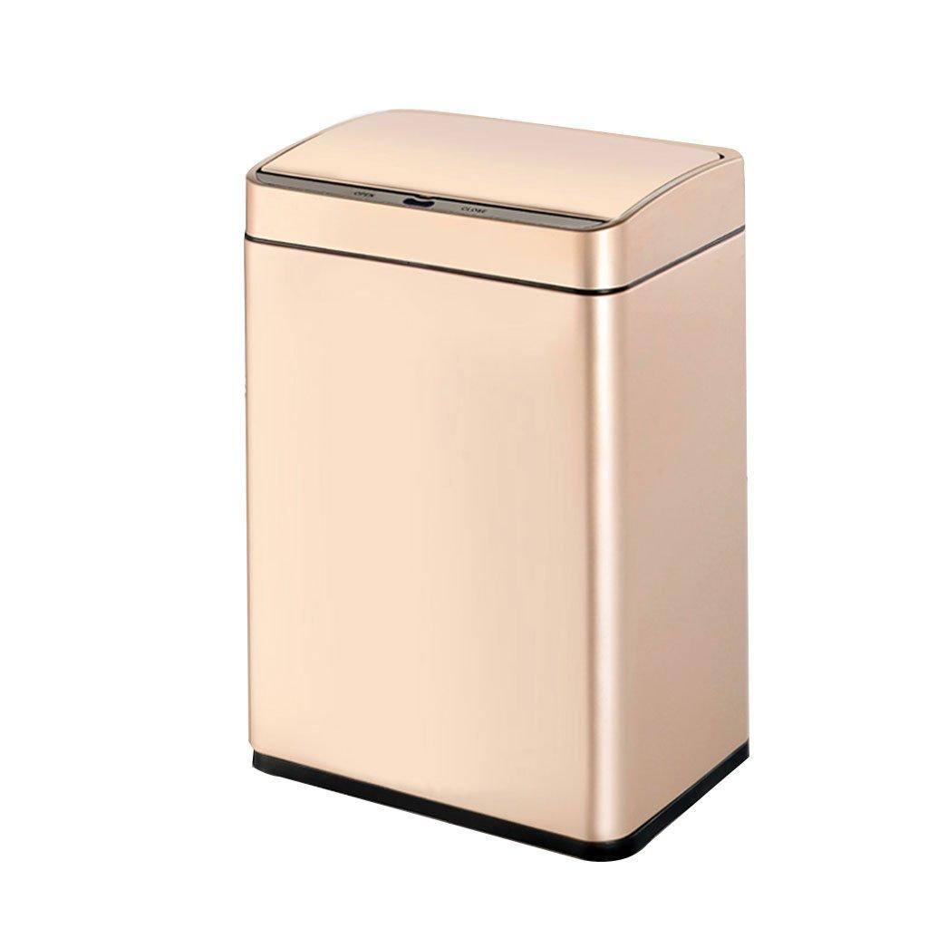 Hyzb Bote de Basura, Cubo de Basura Rectangular de Acero Inoxidable Bote de Basura automático de Contacto de Sensor, baño de Cocina de Sala de Estar (Color : La Plata, Tamaño : 12L)