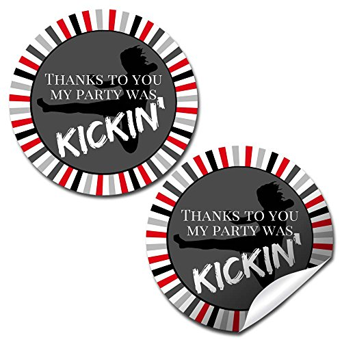 - Kickin Karate Birthday Party Thank You Sticker Labels, 20 2