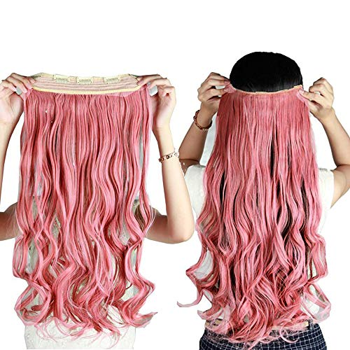 S-noilite Trendy 24/26 Straight Curly 3/4 Full Head One Piece 5clips Clip in Hair Extensions Long Poplar Style for Xmas Gifts 22colors (24 - Curly, ash pink)