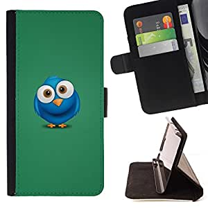 DEVIL CASE - FOR Sony Xperia Z2 D6502 - Cute Blue Bird - Style PU Leather Case Wallet Flip Stand Flap Closure Cover