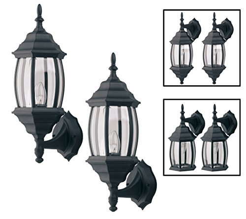 Outdoor Exterior Wall Light Fixture Lantern Porch Patio Downlight/Uplight Twin Pack, Black