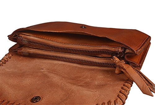 Folding Women Leather for and 9009 Purse Real Genda Brown Long Men Vintage Wallet 2Archer qYnUa