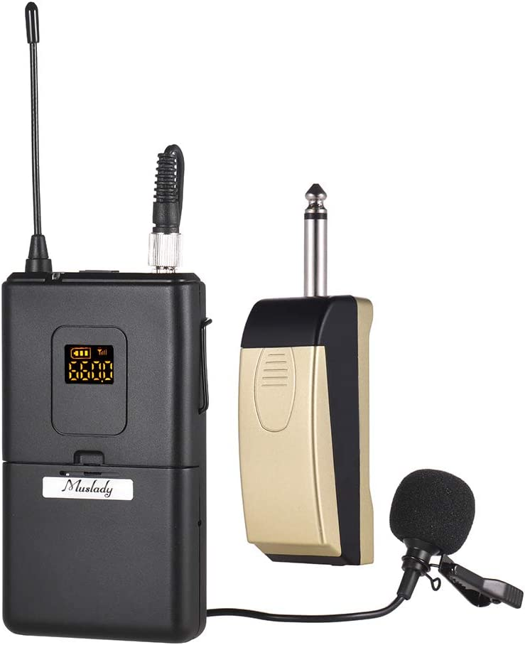 Kalaok Micrófono inalámbrico UHF Sistema de micrófono con receptor Transmisor Micrófono Lavalier con solapa con clip para reuniones de negocios Enseñanza en el salón de clases