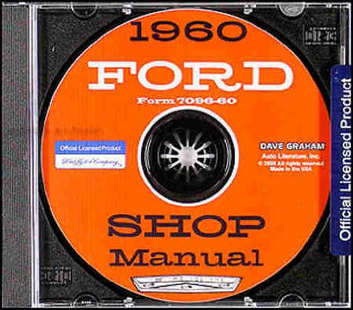 1960 FORD FACTORY REPAIR SHOP & SERVICE MANUAL CD - INCLUDES Ford Fairlane, Fairlane 500, Galaxie, Starliner, Sunliner, Courier, and station wagon 60