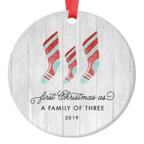 Ornament Parents - First Christmas As A Family of Three Ornament 2019 Farmhouse Woodsy Newborn New Baby Parents Mom Dad Xmas Present Mommy Daddy Ceramic Porcelain Keepsake 3