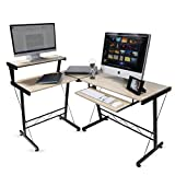 Modern Design Durable L Shape Computer Desk Workstation for Office , Home Office , Dorm Room , Natural Birch Color with Black Frame