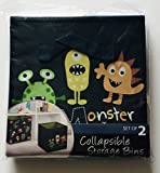 monster inc bin - KIDS FUNNY MONSTERS CUTE SET OF 2 COLLAPSIBLE STORAGE BINS