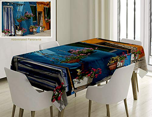 Unique Custom Cotton And Linen Blend Tablecloth Tuscan Decor Collection Entrance To Retro House With Brick Road And Flowers Picture Accessories MustarTablecovers For Rectangle Tables, 78 x 54 Inches