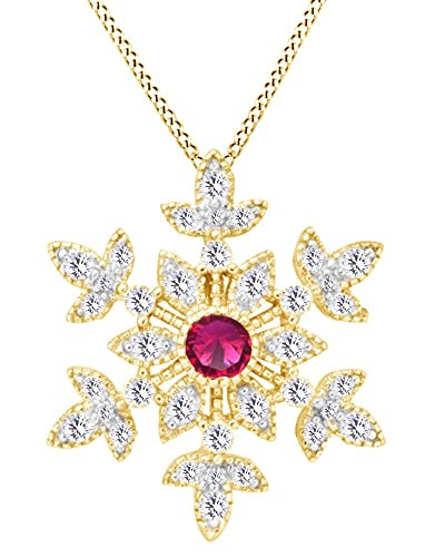 AFFY Round Cut Simulated Ruby with White CZ Snowflake Pendant Necklace in 14K Yellow Gold Over Sterling Silver ()