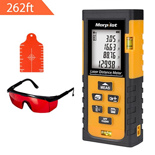 Laser Measure - Morpilot 262ft Laser Tape Measure with Target Plate & Enhancing Glasses, Laser Measuring Device with Pythagorean Mode, Measure Distance, Area, Volume - Glasses Measure