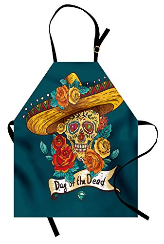 Ambesonne Day of The Dead Apron, Mexican Festive Hat Skull with Roses Art Print, Unisex Kitchen Bib Apron with Adjustable Neck for Cooking Baking Gardening, Petrol Blue Turquoise Orange Marigold
