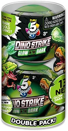5 Surprise Dino Strike Surprise Mystery Battling Collectible Dinos by way of ZURU (2 Pack) Glow in The Dark