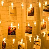 Hulorry Solar Fairy String Lights, Solar String Lights Photo Clip Lights Waterproof Fairy Lights for Garden, Wedding, Party, Indoor, Outdoor and Christmas Tree,Warm White
