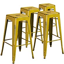 """Flash Furniture High Backless Distressed Metal Indoor Barstool (4 Pack), 30"""", Yellow"""