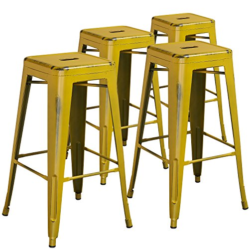 Flash Furniture 4 Pk. 30'' High Backless Distressed Yellow Metal Indoor-Outdoor Barstool