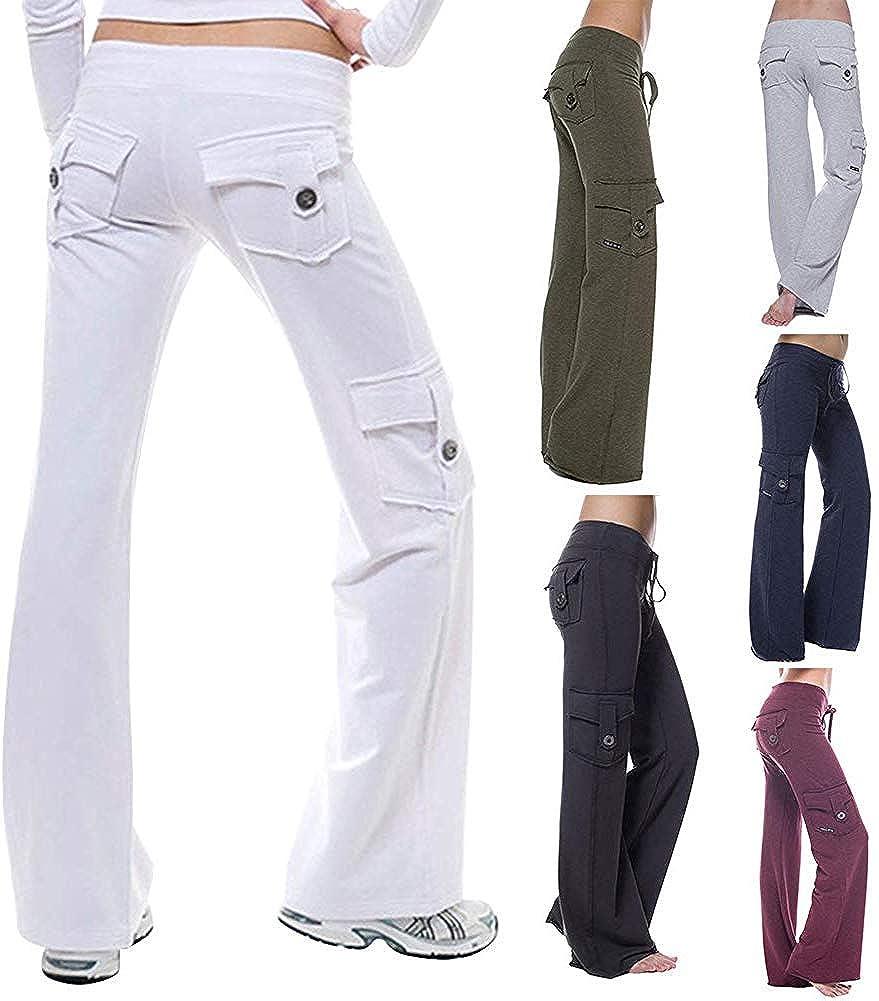 Wechoide Damen Bootleg Hose Damen Yoga Schlaghose Hose,Elastischer Bund Knopf Taschen Fitness /Übung Laufen Hose
