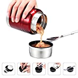 SOMIGA Insulated Stainless Steel Food Jar with Folding Spoon,Bag-Vacuum Double Walled BPA Free, Unbreakable, Leak Proof 17 OZ Storage Container (Red)