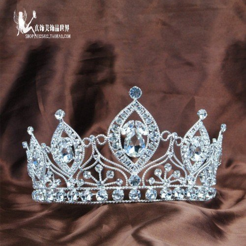 Generic The new European and American custom import large diamond crown tiara bride Wang Guan pageant crown tiara award makeup studio shot hair ornaments by Generic