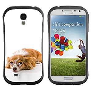 TopCaseStore Hybrid Rubber Case Hard Cover Protection Skin for SAMSUNG GALAXY S4 - Funny Glasses Dog Cute