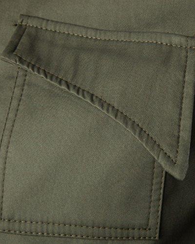 JoJoJoy Men's Lightweight Cotton Windbreaker Zip Button Jacket Casual Military Coat Army Green Medium