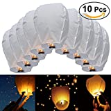 JRing 10 PCS Paper Chinese Flying Lanterns Fly Candle Lamps for Christmas, New Years Eve, Wish Party &Weddings/ Whit