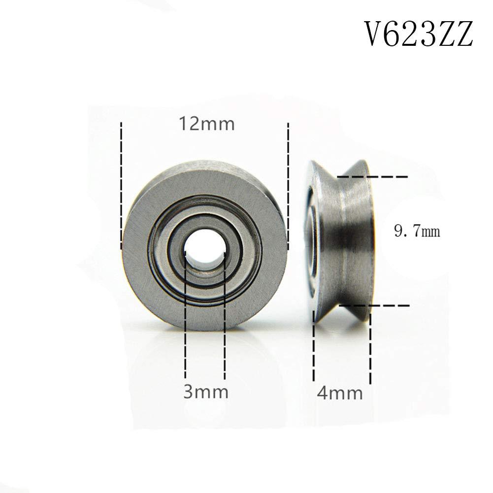 20Pcs 4mm 4x13x6mm 20pcs V624ZZ Groove Sealed Guide Pulley Rail Ball Bearing Metal V Groove Guide Pulley Rail Ball Bearings Wheel