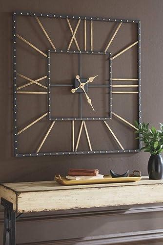 Ashley Furniture Signature Design – Thames Wall Clock – Contemporary Glam – Black Gold Finish